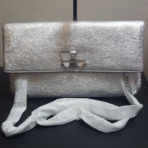 Michael Kors Everly Medium Fold Over Clutch Silver